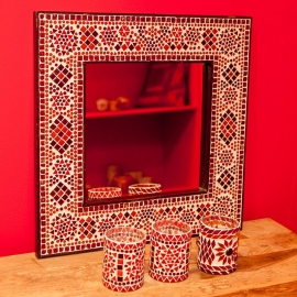spiegel rood-oranje met mozaïek frame