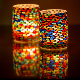kleurrijke,  waxinehouder cilinder - mozaïek - multi colour - Seed design