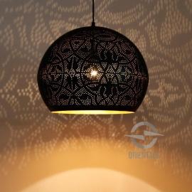 oosterse hanglamp filigrain stijl - open - zwart/goud