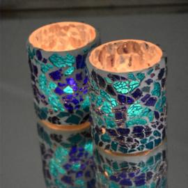 Crackled glass waxinehouder cilinder - blauw