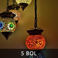 hanglamp met 5 bollen en mozaiek