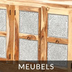 massief houten meubels met mozaïek panelen