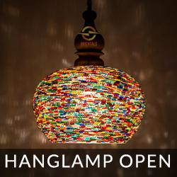 hanglampen met open onderkant en mozaiek of bangles