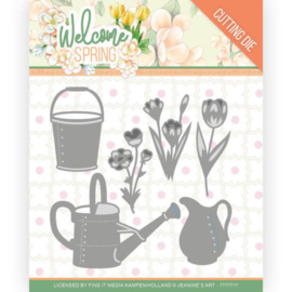 Jeanine's Art Welcome Spring  - Dies - Watering Can and Bucket