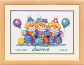 Borduurpakket: Clowns met Ballonnen