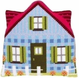Borduurkussen: Blauw huis