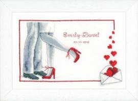 Borduurpakket: Bruidspaar in rood