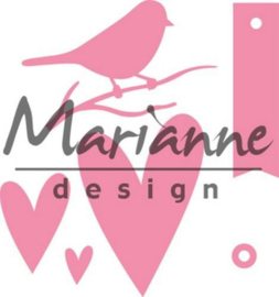 Marianne D Collectable Giftwrapping - Karin's bird, hearts & tag