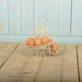 Wit metalen eierrekje