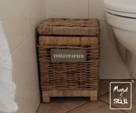 Kleine mand met deksel toiletpapier (26x26x35cm)
