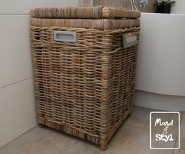 Vierkante gevoerde wasmand (40x40x60cm)