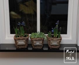 Set van 3 plantenbakjes rotan (18x18x15cm)