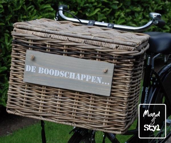 Rechthoekige fietsmand met klep (47x34x35cm)