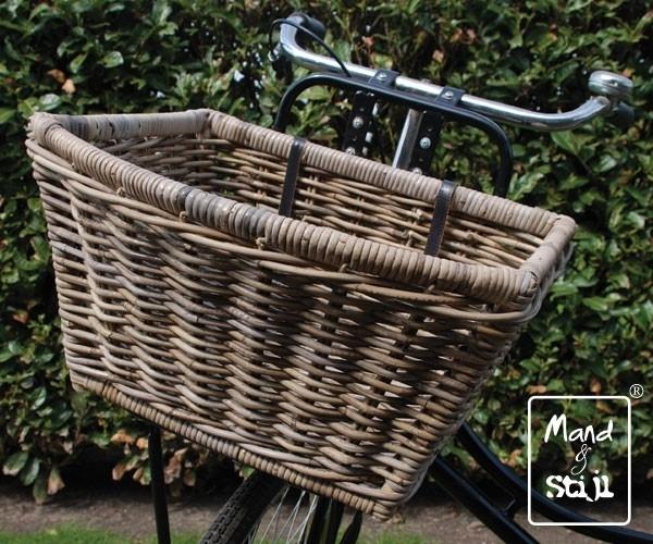 Rond toelopende fietsmand met bandjes (47x42x27cm)