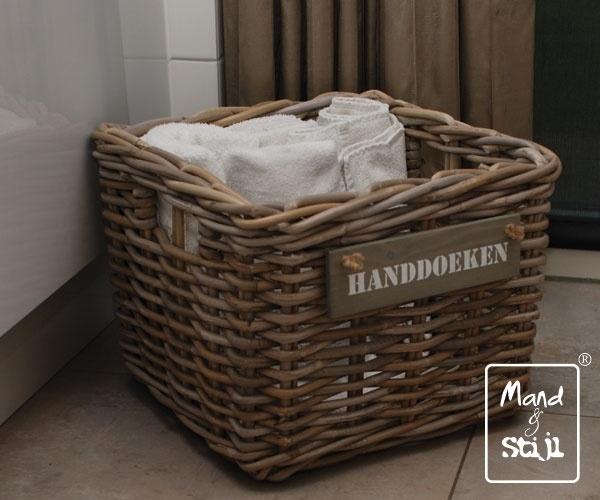 Welp Middelgrote vierkante mand voor handdoeken (35x35x25cm)   Badkamer OK-89