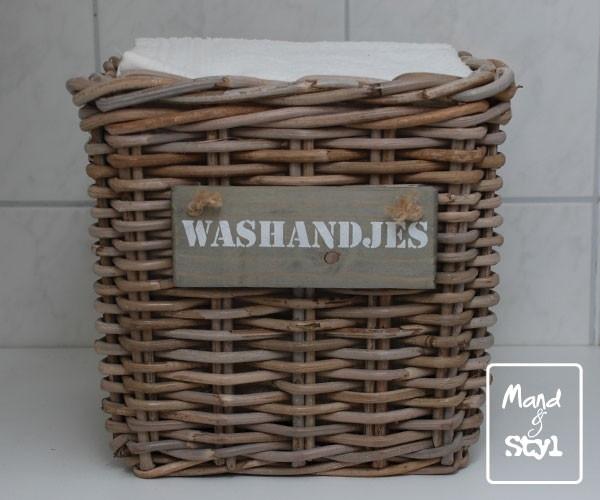 Hoog vierkant lademandje voor washandjes (26x26x23cm)
