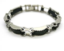 Armband RVS met carbon. M/V. 3108