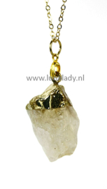 Edelsteen aan ketting   Ruwe Citrien (gouden Amethist) kristal. S2