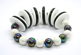 551 Armband wit-zwart