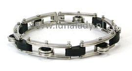 Armband RVS met carbon.  M/V.  3128