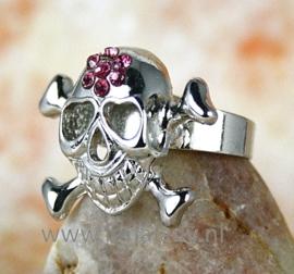 Ring met rhinestones skul  519