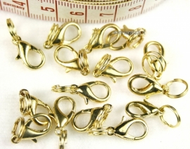Clasps goud kleur. 12 stuks.=