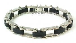 Armband RVS met carbon.  M/V.  3580