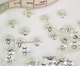 Bead caps  zilverkleur 9 mm. ± 80 stuks.=