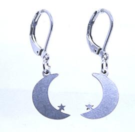 154 RVS oorbel maan met ster.