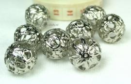 420 Opengewerkte metalen kralen, platinumkleur, 8 stuks.