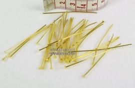 Nietstiften goud kleur 50 mm lang. ± 50 stuks.