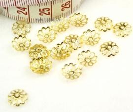 Bead caps goudkleur 9 mm. ± 50 stuks.