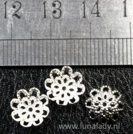 Bead caps  zilverkleur 10x3 mm. ± 80 stuks. G