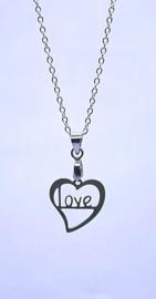2020 RVS ketting met hanger M/V LOVE hart.