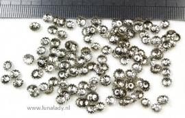 Bead caps  platinumkleur 5x1,5 mm. ± 200 stuks.F