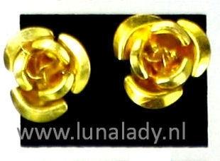 Oorsteker roosje,  goud geel