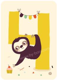 wenskaart vierde verjaardag - 4 jaar - BORA illustraties