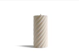 Babongo Spiral Cylinder kaars van koolzaadwas - handgemaakt
