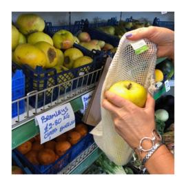 Herbruikbare netzakjes voor groente fruit biokatoen set 3 formaten A Slice of Green