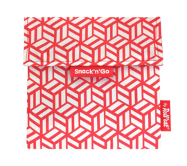 Herbruikbaar boterhamzakje Snack 'n Go Eco Tiles Red