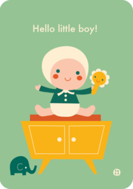 ansichtkaart Hello Little boy- BORA illustraties