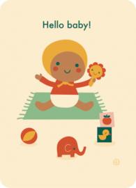 ansichtkaart Hello baby! playtime - BORA illustraties