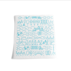 Babongo vaatdoek Travel blue on white - biologisch afbreekbaar