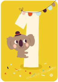 wenskaart eerste verjaardag - 1 jaar - BORA illustraties