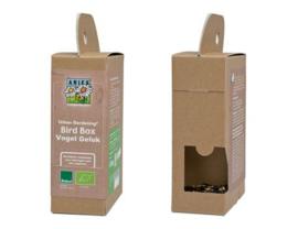 Bird box - kartonnen vogelhuisje met zaden en noten