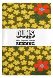 Eenpersoons dekbedovertrekset Flower Olive DUNS Sweden - 150x200cm
