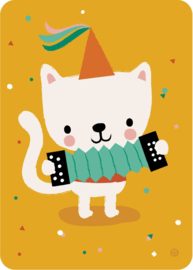 ansichtkaart Poes met accordeon en feestmuts - BORA illustraties