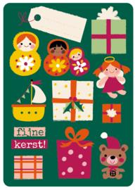 set van 6 kerst ansichtkaarten - BORA illustraties