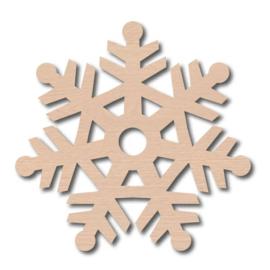 Decoratieve houten hanger - Sneeuwvlok 14cm