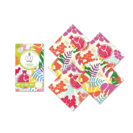 BeeBee & Leaf wasdoeken - Pomegranate set van 5 small - VEGAN